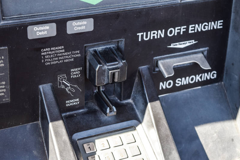 Signs that a gas pump has potentially been comprised are pry marks near the card reader or broken seal tape. (Alex Meyer/View) @alxmey