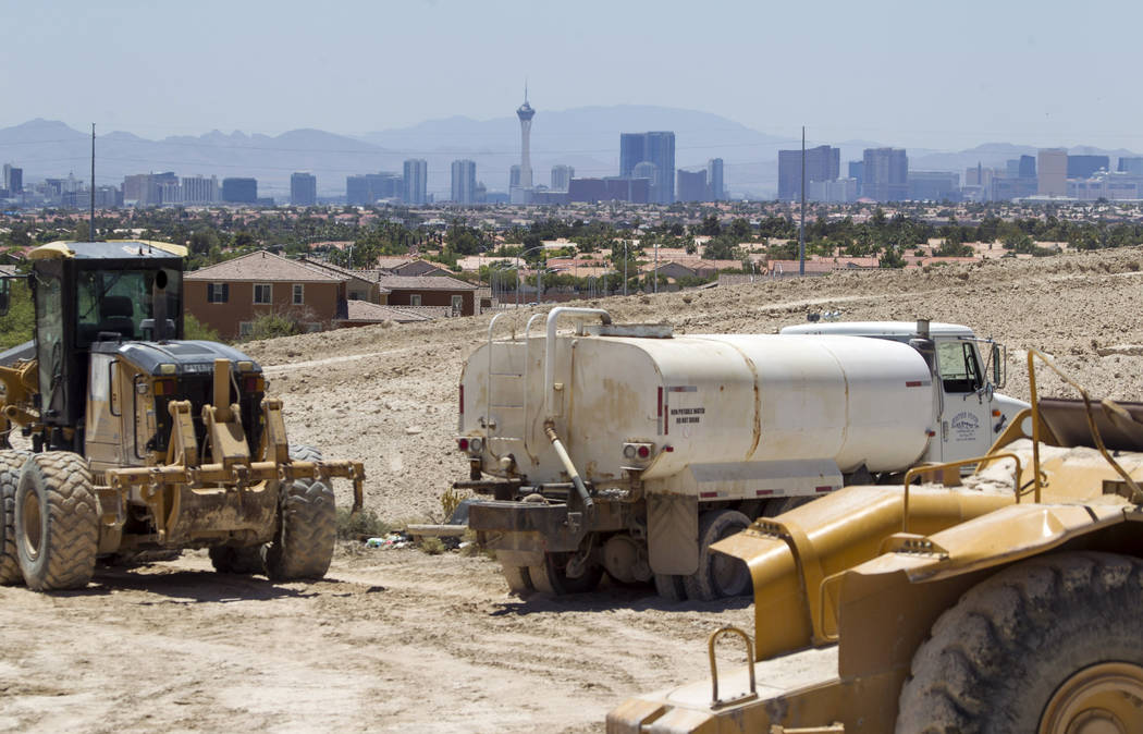 Heavy machinery at the Villages at Tule Springs project site in North Las Vegas on Monday, June 26, 2017. (Richard Brian/Las Vegas Review-Journal) @vegasphotograph