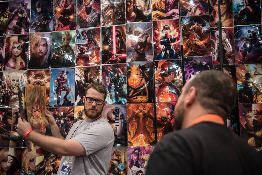 John Birtcher sells the artwork of Cesar Ayala  at Las Vegas Comic Con on Friday, June 23, 2017, at Las Vegas Convention Center in Las Vegas. Morgan Lieberman Las Vegas Review-Journal