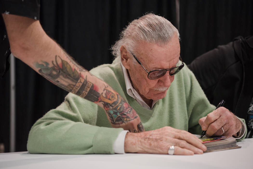 Stan Lee signing a stack of comic books, at  Las Vegas Comic Con on Friday, June 23, 2017, at Las Vegas Convention Center in Las Vegas. Morgan Lieberman Las Vegas Review-Journal