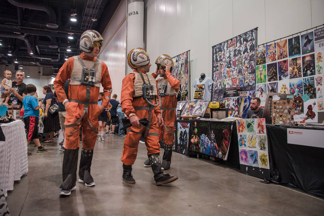 Themed attendees walk the rows of exhibit booths  at Las Vegas Comic Con on Friday, June 23, 2017, at Las Vegas Convention Center in Las Vegas. Morgan Lieberman Las Vegas Review-Journal