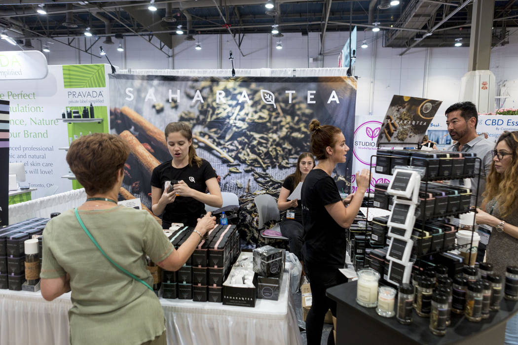 Attendees of the International Esthetics Cosmetics and Spa Conference visit the Sahara Tea booth at the Las Vegas Convention Center in Las Vegas, Sunday, June 25, 2017. Elizabeth Brumley Las Vegas ...