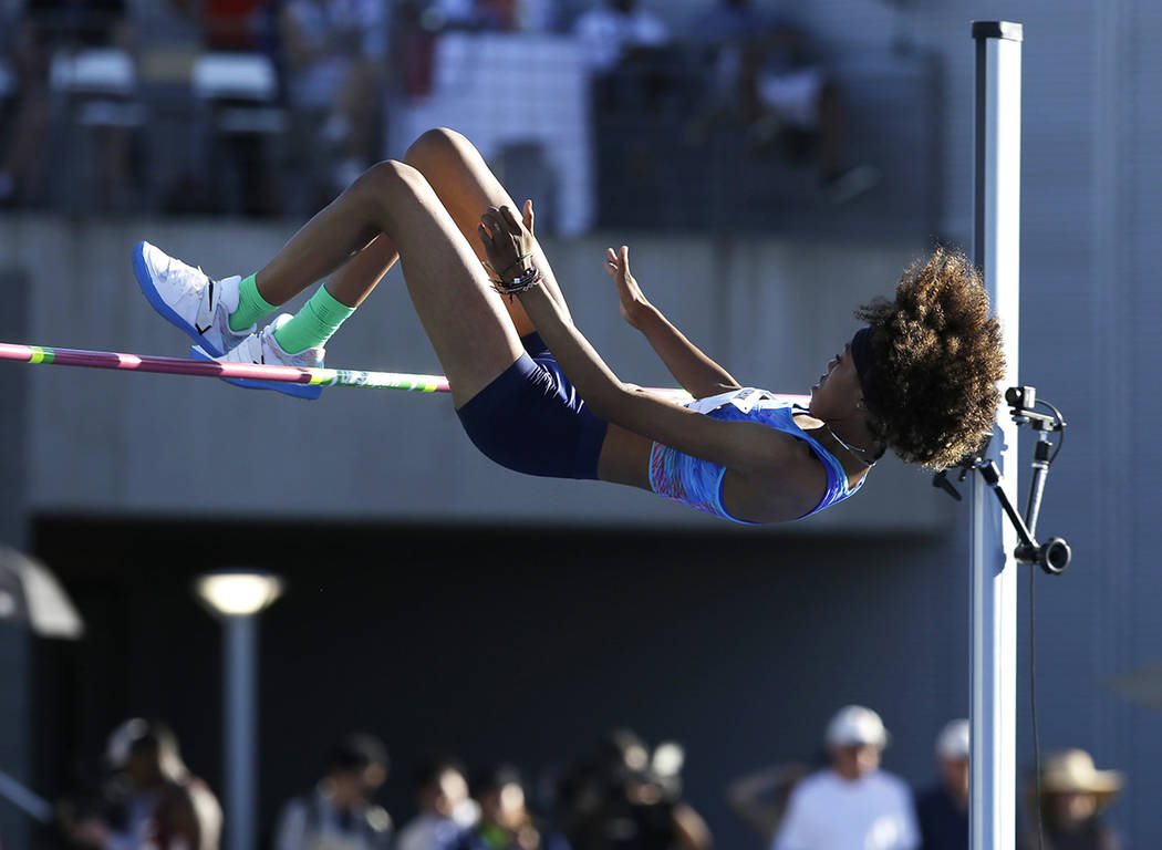 Vashti Cunningham competes in the women's high jump final at the U.S. Track and Field Championships, Friday, June 23, 2017, in Sacramento, Calif. Cunningham won the event. (AP Photo/Rich Pedroncelli)