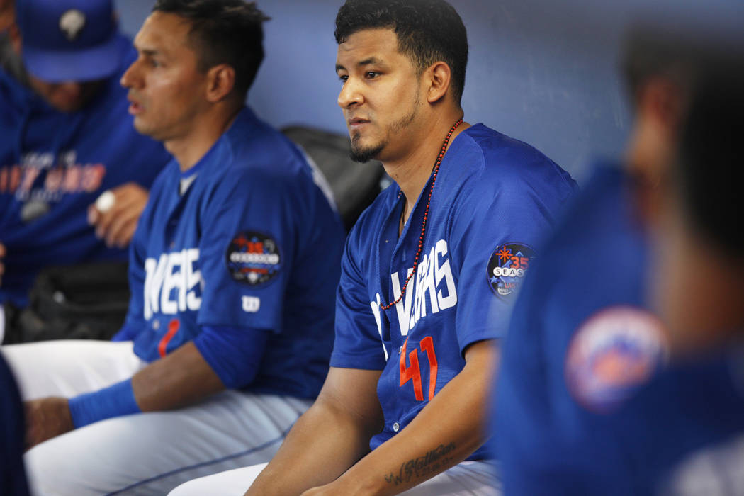 Wilfredo Boscan (41) in the dugout during a game against Albuquerque on Monday, May 1, 2017, at Cashman Field in Las Vegas. Rachel Aston Las Vegas Review-Journal @rookie__rae