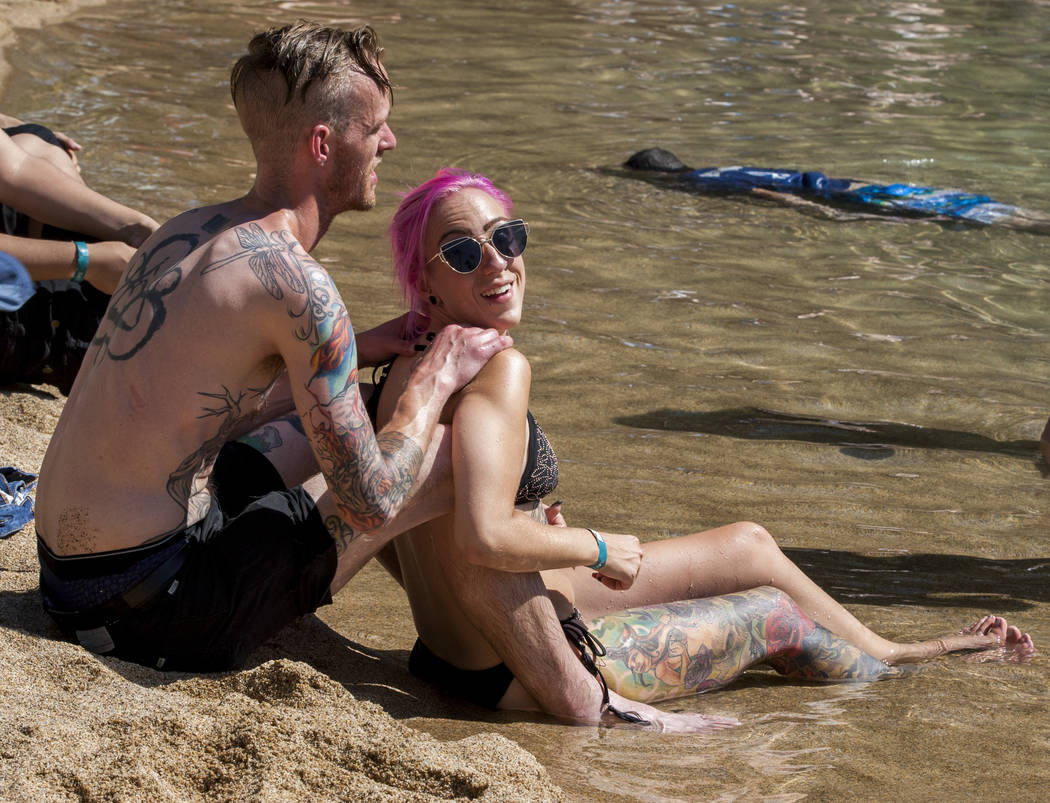 Nick and Lauren Truelson cool off at the Nirvana Pool during Vans Warped Tour at the Hard Rock Hotel and Casino on Friday, June 23, 2017.  Patrick Connolly Las Vegas Review-Journal @PConnPie