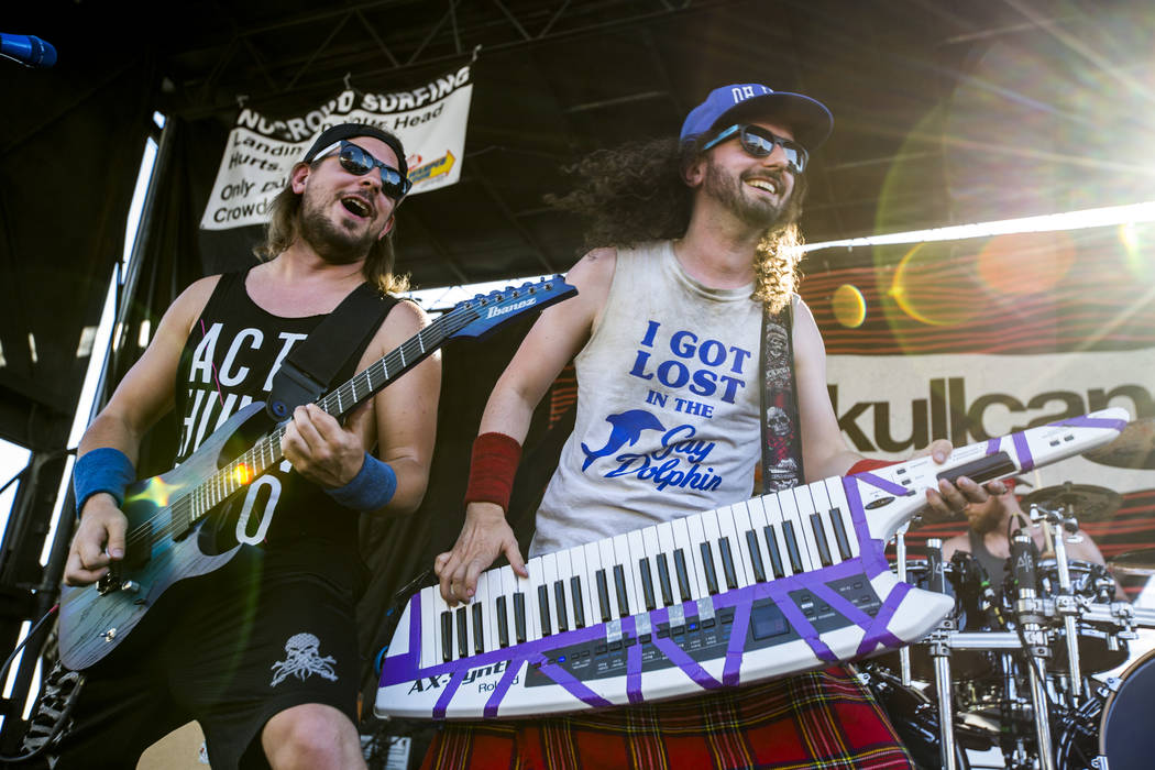 Christopher Bowes, right, and Máté Bodor of Alestorm perform at Vans Warped Tour at the Hard Rock Hotel and Casino on Friday, June 23, 2017.  Patrick Connolly Las Vegas Review-Journal @P ...