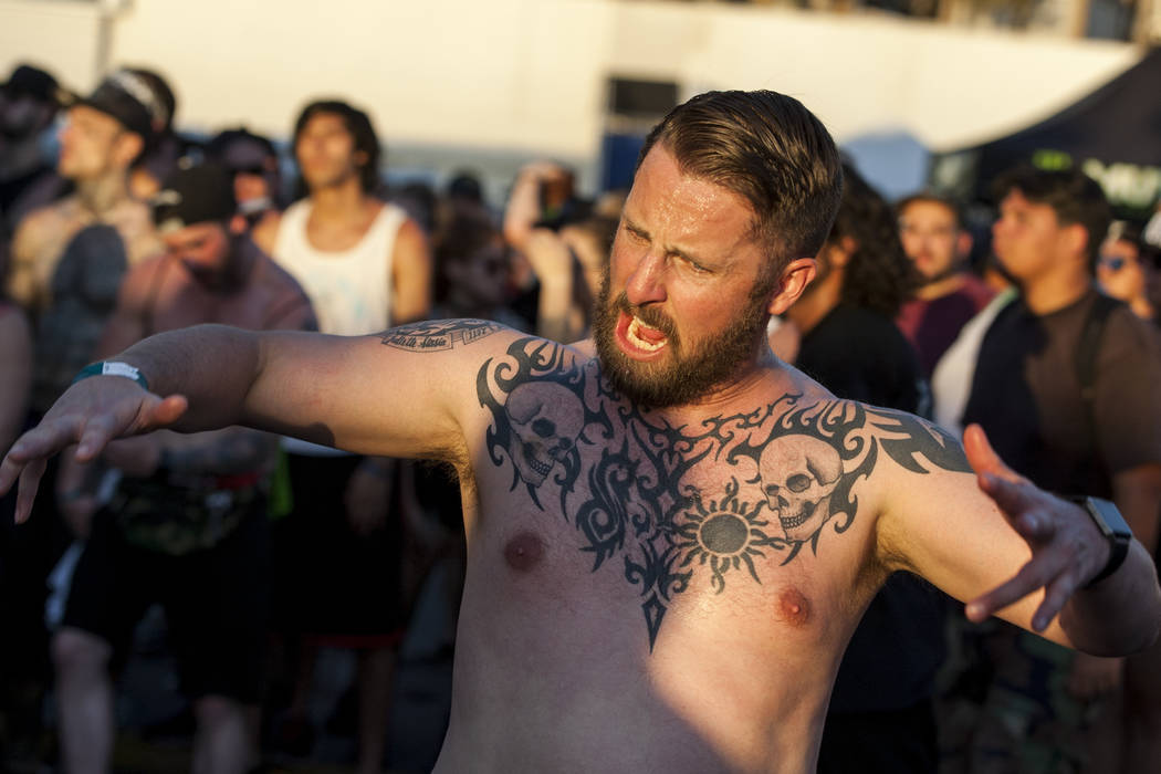 A Hatebreed fan moshes while Hatebreed performs at Vans Warped Tour at the Hard Rock Hotel and Casino on Friday, June 23, 2017.  Patrick Connolly Las Vegas Review-Journal @PConnPie