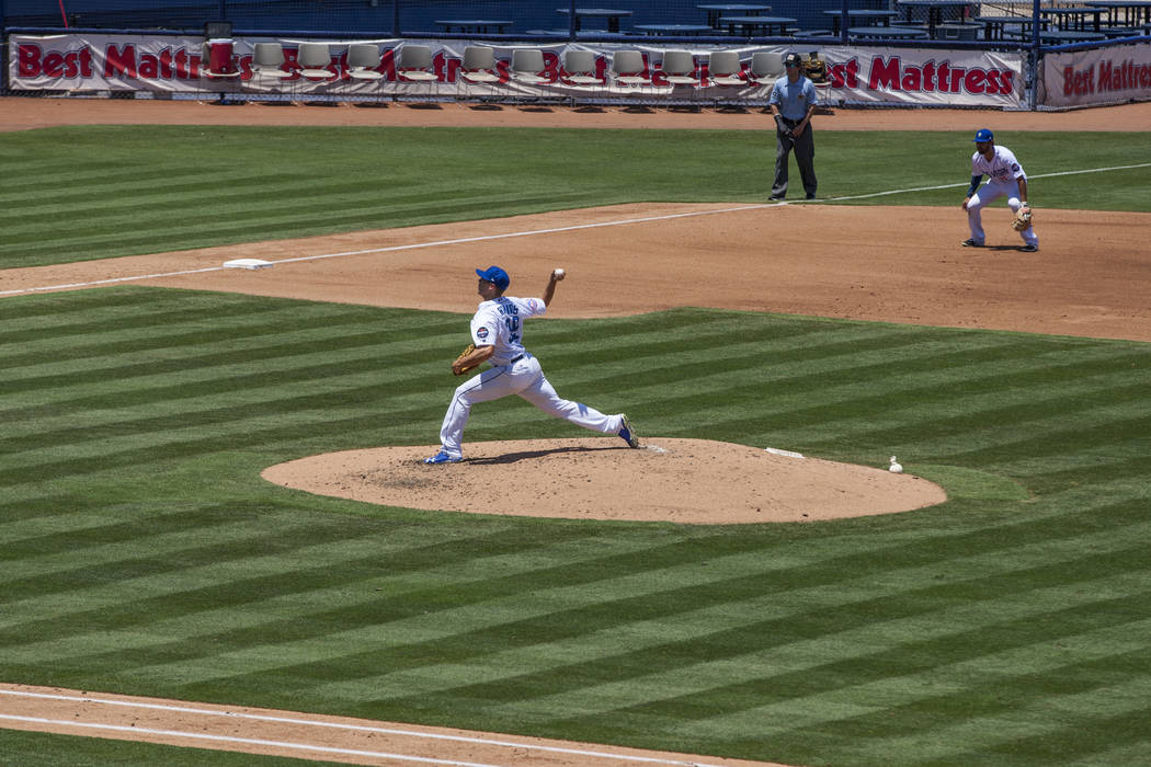 Las Vegas 51s pitcher Mitch Atkins pitches against the Salt Lake Bees at Cashman Field on Sunday, June 25, 2017.  Patrick Connolly Las Vegas Review-Journal @PConnPie