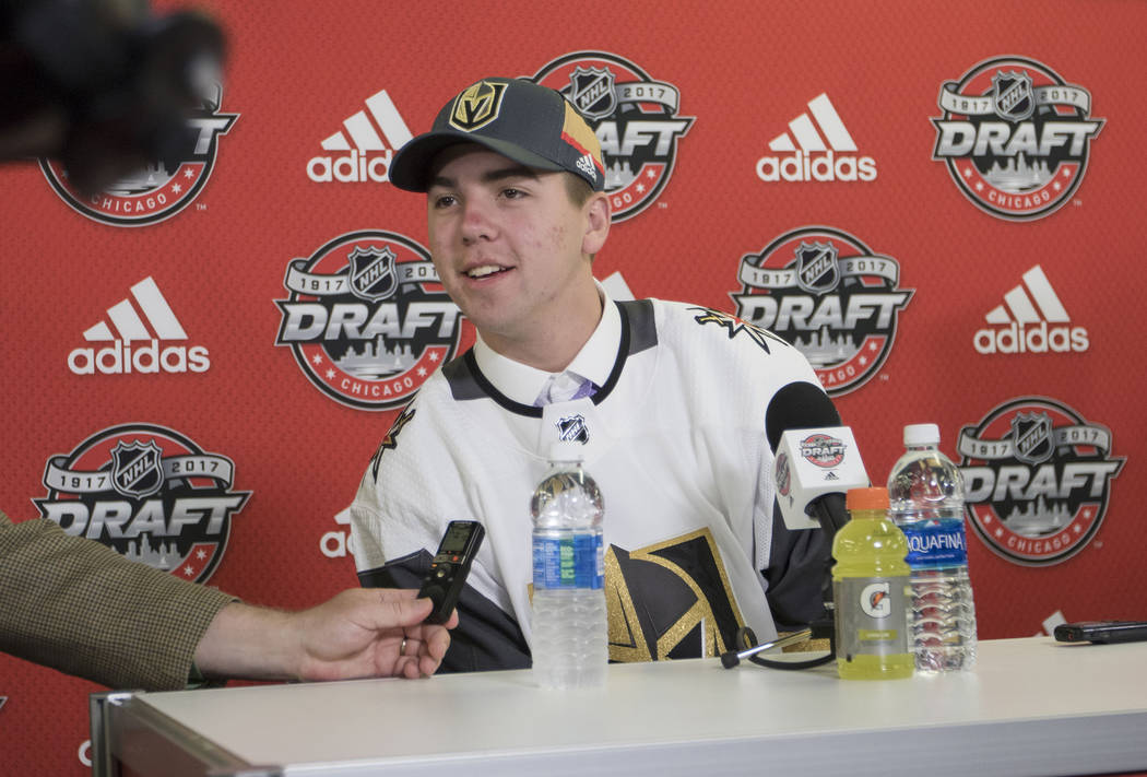 Vegas Golden Knights' Jonathan Dugan, who was selected 142 overall at the 2017 NHL Entry Draft, takes questions from reporters at the United Center in Chicago, Illinois, on Saturday, June 24, 2017 ...