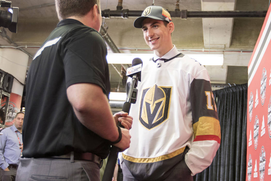 Nicolas Hague, who was selected by the Vegas Golden Knights in the second round of the 2017 NHL Entry Draft, is interviewed at the United Center in Chicago, Illinois, on Saturday, June 24, 2017. H ...