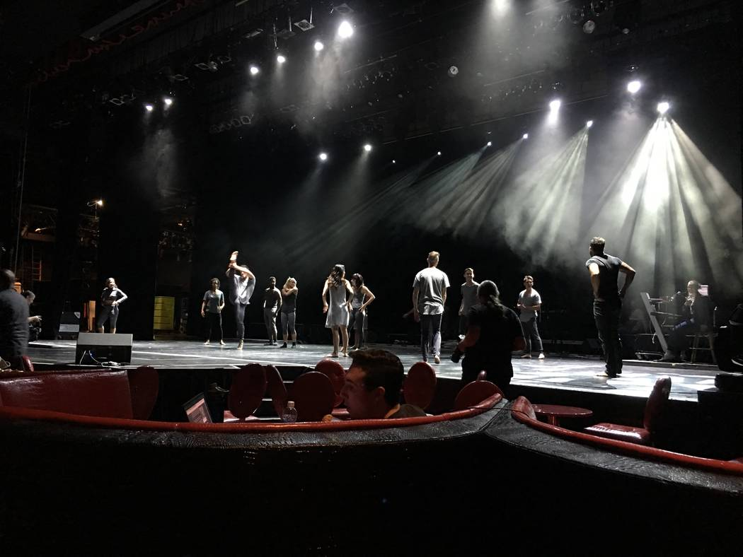 Performers rehearse for the 31st annual Golden Rainbow Ribbon of Life show at Tropicana Theater on Saturday, June 24, 2017 (John Katsilometes/Las Vegas Review-Journal). @JohnnyKats