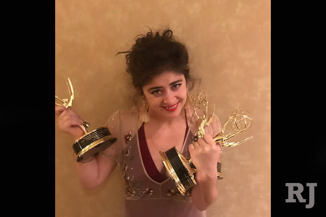 Rachel Aston holds her Emmys after the 43rd Annual Pacific Southwest Emmy Awards on Saturday, June 24, 2017 in San Diego, Cal. (Screengrab/Twitter/@Rookie_Rae)