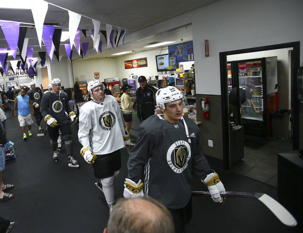 Vegas Golden Knights' Erik Brannstrom, right, heads to the ice rink with teammates during the team's development camp at Las Vegas Ice Center on Tuesday, June 27, 2017. Chase Stevens Las Vegas Rev ...
