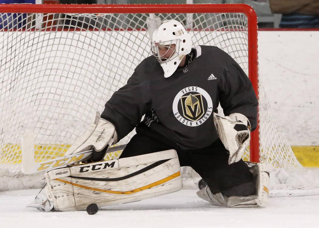 Vegas Golden Knights' goalie Maksim Zhukov blocks the puck during the team's development camp at Las Vegas Ice Center in Las Vegas on Thursday, June 29, 2017. Bizuayehu Tesfaye/Las Vegas Review-Jo ...