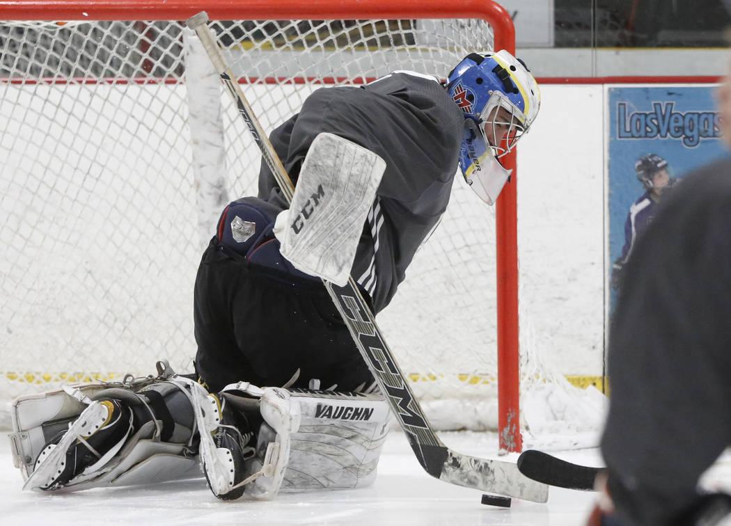 Vegas Golden Knights' goalie Jiri Patera blocks the puck during the team's development camp at Las Vegas Ice Center in Las Vegas on Thursday, June 29, 2017. Bizuayehu Tesfaye/Las Vegas Review-Jour ...