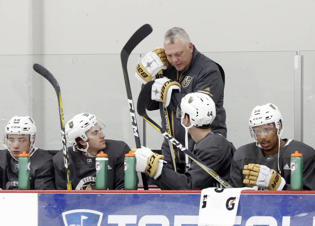 Mike Kelly, Vegas Golden Knights' first assistant coach, chats with his players during the team's development camp at Las Vegas Ice Center in Las Vegas on Thursday, June 29, 2017. Bizuayehu Tesfay ...
