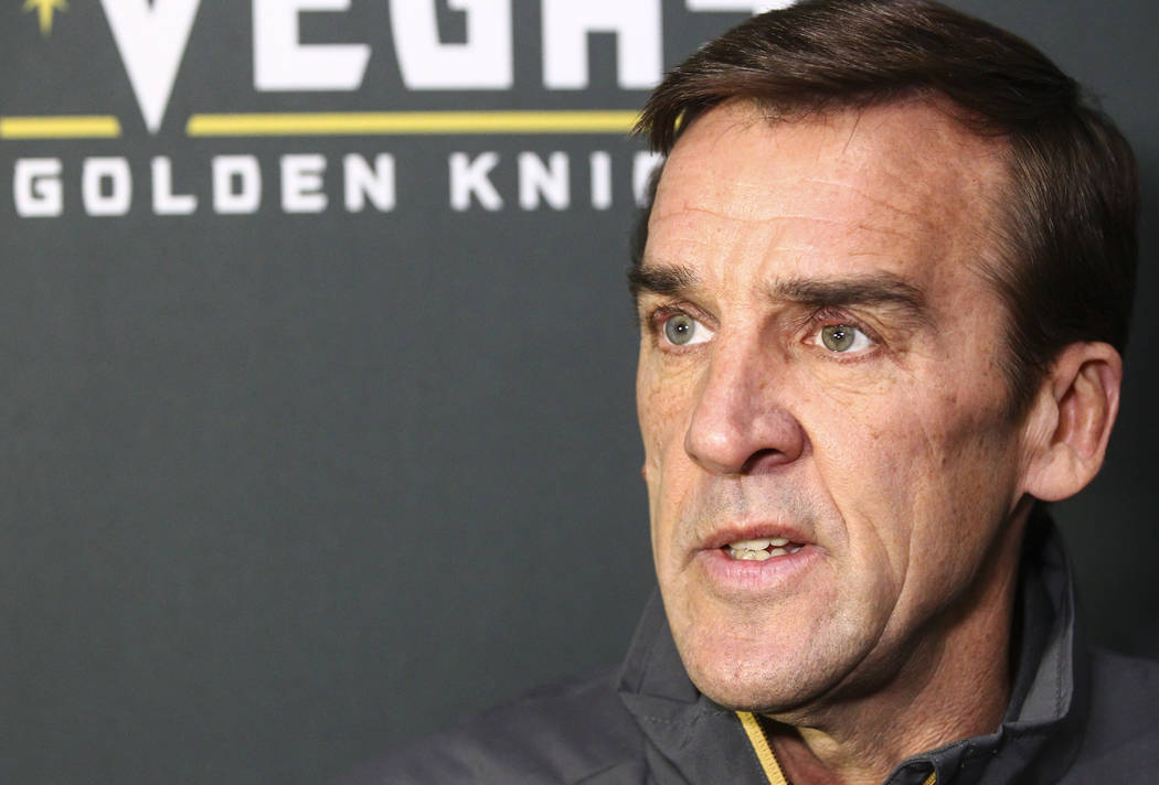 Vegas Golden Knights general manager George McPhee speaks after the team's development camp at Las Vegas Ice Center in Las Vegas on Friday, June 30, 2017. Chase Stevens Las Vegas Review-Journal @c ...
