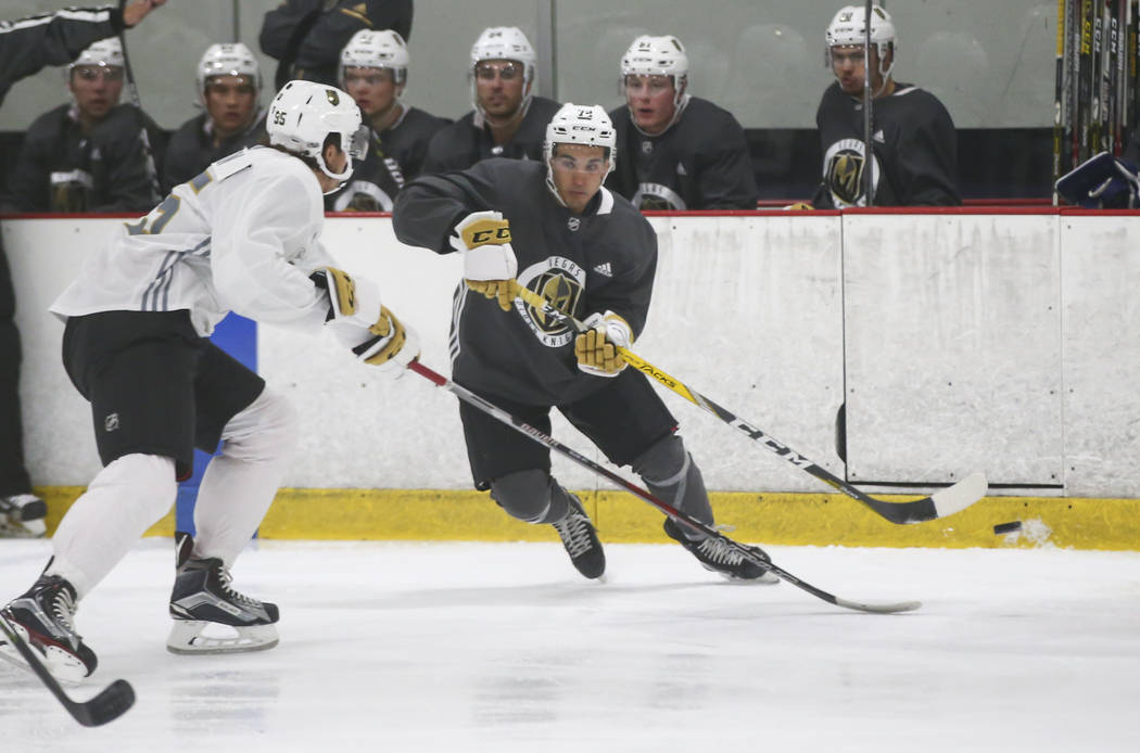Vegas Golden Knights' Jayden Halbgewachs, right, during a scrimmage as part of the team's development camp at Las Vegas Ice Center in Las Vegas on Friday, June 30, 2017. Chase Stevens Las Vegas Re ...