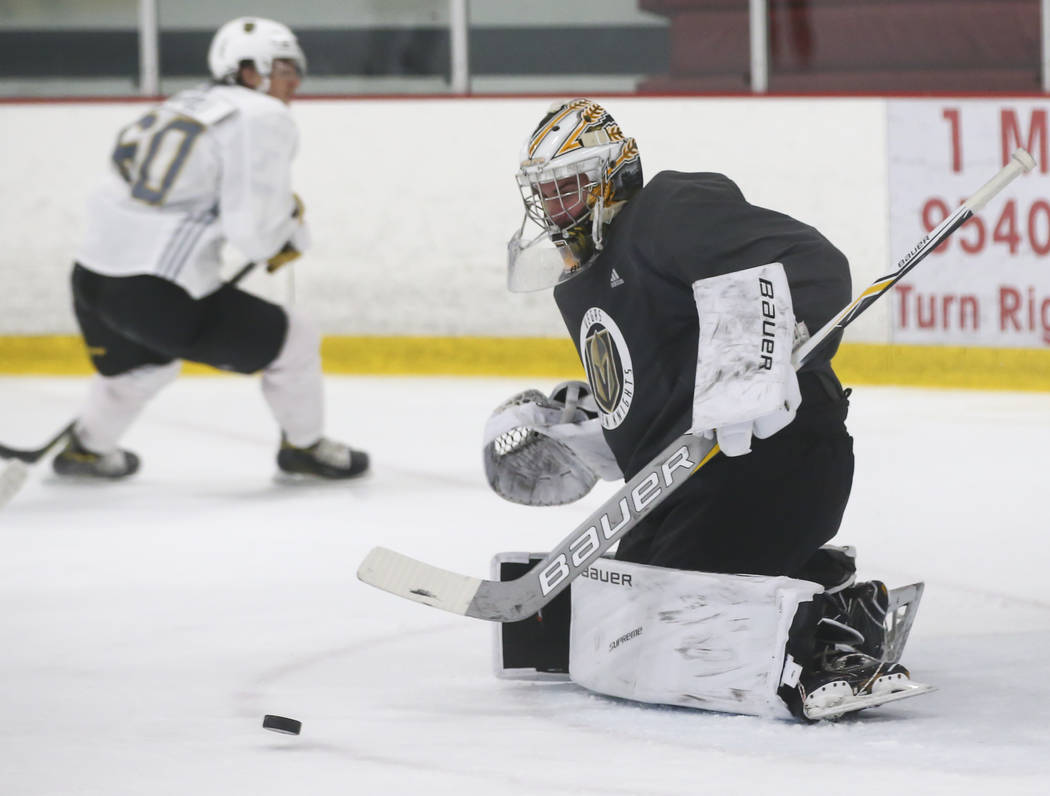 Vegas Golden Knights' Logan Thompson defends during a scrimmage as part of the team's development camp at Las Vegas Ice Center in Las Vegas on Friday, June 30, 2017. Chase Stevens Las Vegas Review ...