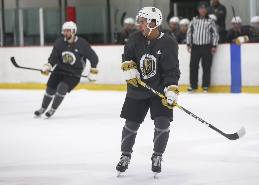 Vegas Golden Knights' Jayden Halbgewachs during a scrimmage as part of the team's development camp at Las Vegas Ice Center in Las Vegas on Friday, June 30, 2017. Chase Stevens Las Vegas Review-Jou ...