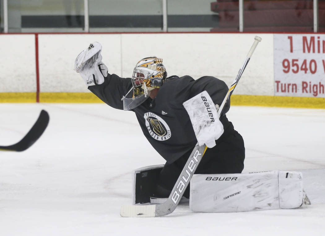 Vegas Golden Knights' Logan Thompson blocks a shot during a scrimmage as part of the team's development camp at Las Vegas Ice Center in Las Vegas on Friday, June 30, 2017. Chase Stevens Las Vegas  ...