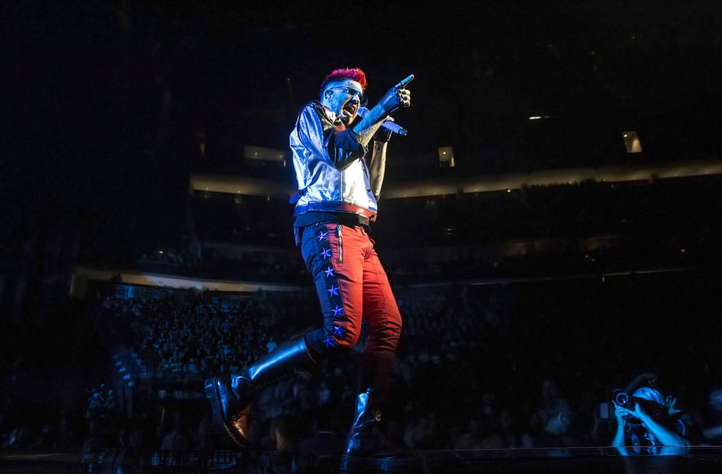 Adam Lambert performs with Queen on Saturday, June 24, 2017, at T-Mobile Arena, in Las Vegas. Benjamin Hager Las Vegas Review-Journal @benjaminhphoto