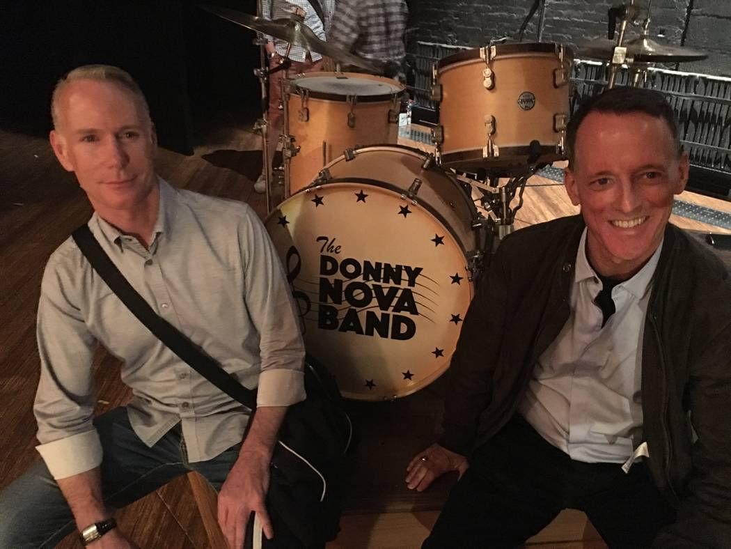 Richard Oberacker, left, and Robert Taylor are shown onstage with the drum kit from the Donny Nova Band at Bernard Jacobs Theatre on Friday, June 16, 2017. (John Katsilometes/Las Vegas Review-Jour ...