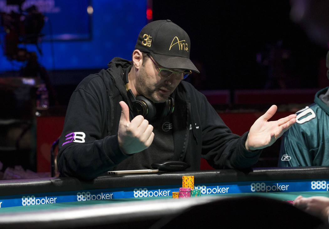 Phil Hellmuth plays a hand during the World Series of Poker on Monday, June 26, 2017, at the Rio hotel-casino, in Las Vegas. (Richard Brian/Las Vegas Review-Journal) @vegasphotograph