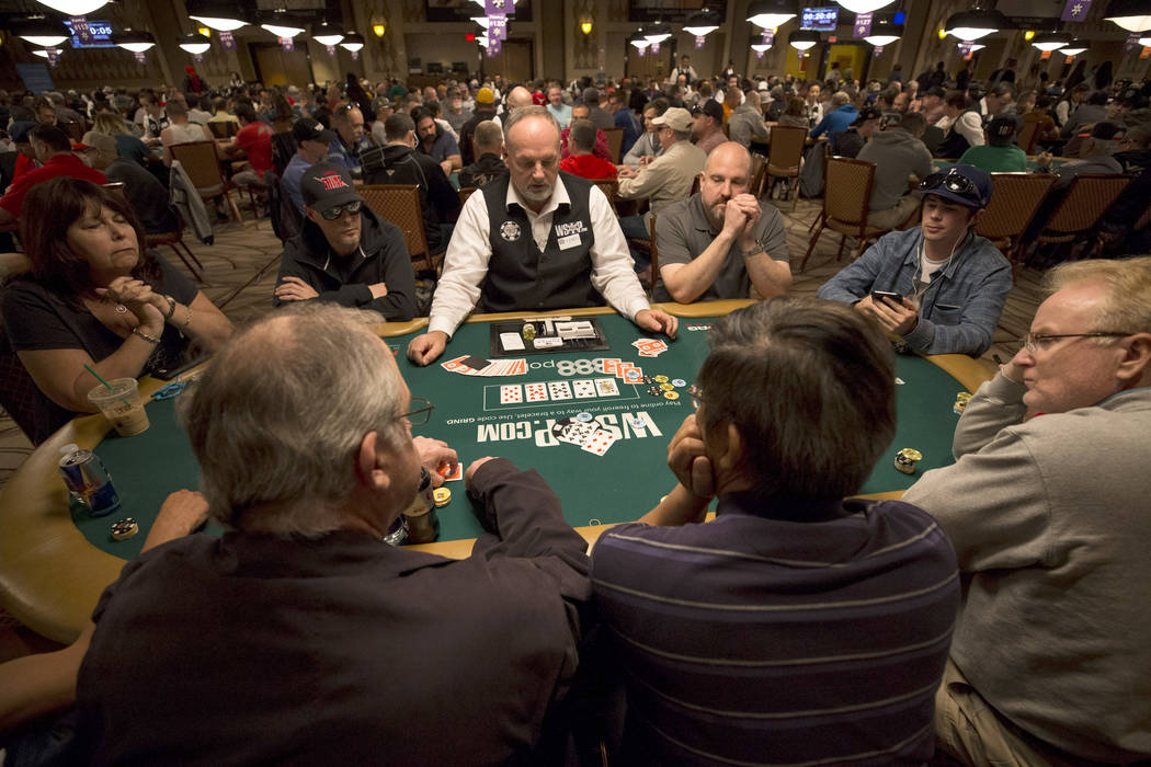 A dealer works a table during the World Series of Poker on Monday, June 26, 2017, at the Rio hotel-casino, in Las Vegas. (Richard Brian/Las Vegas Review-Journal) @vegasphotograph