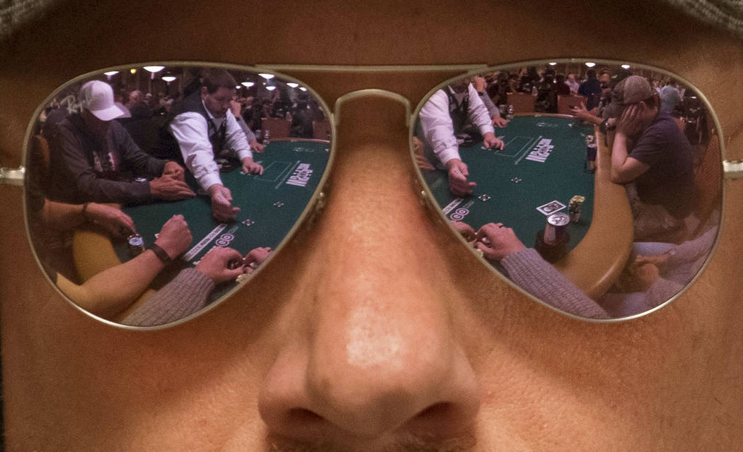 Patrick Cantrell of Texas plays a hand during the World Series of Poker on Monday, June 26, 2017, at the Rio hotel-casino, in Las Vegas. Richard Brian Las Vegas Review-Journal @vegasphotograph