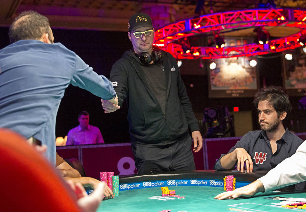 Phil Hellmuth shakes hands with a fellow player after losing his chips during the World Series of Poker on Monday, June 26, 2017, at the Rio hotel-casino, in Las Vegas. Richard Brian Las Vegas Rev ...