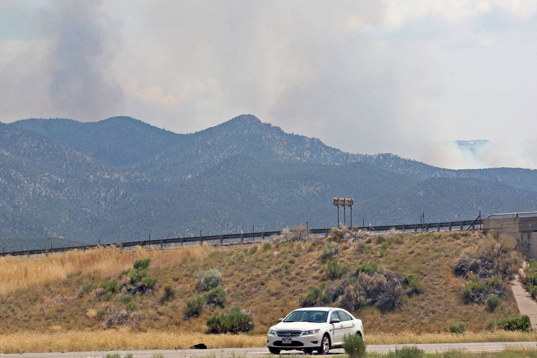 """Smoke from the Brian Head Wildfire near Parowan, Utah on Interstate-15 Southbound, Sunday, June 25, 2017. Gabriella Benavidez Las Vegas Review-Journal @latina_ish"""