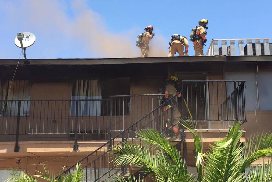 Firefighters battle a fire at Charleston Garden Apartments, 4850 E. Charleston Blvd., on Sunday. (Las Vegas Fire & Rescue)