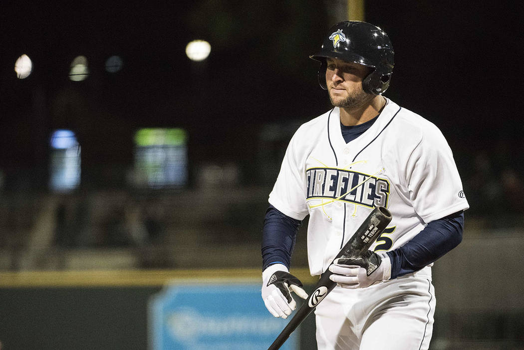Columbia Fireflies' Tim Tebow returns to the dugout after striking out during the team's minor league baseball game against the Augusta GreenJackets, in Columbia, S.C., in April. (AP Photo/Sean Ra ...