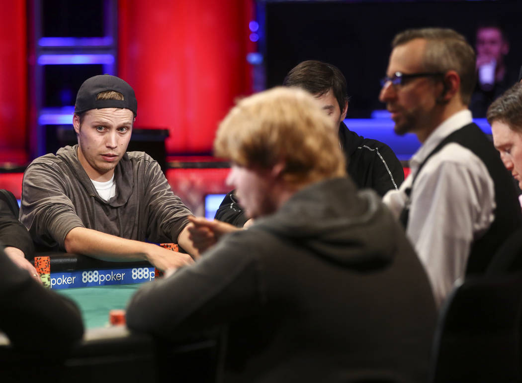 Carson City resident Ian Steinman competes in the final table of the $1,500 No-Limit Hold'em event during the World Series of Poker at the Rio hotel-casino in Las Vegas on Thursday, June 29, 2017. ...