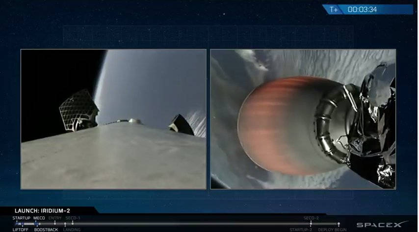 Images released by SpaceX, its Falcon 9 rocket sows its main engine cutoff, left, and stage separation confirmed. Second stage engine burn underway, right. (SpaceX via AP)