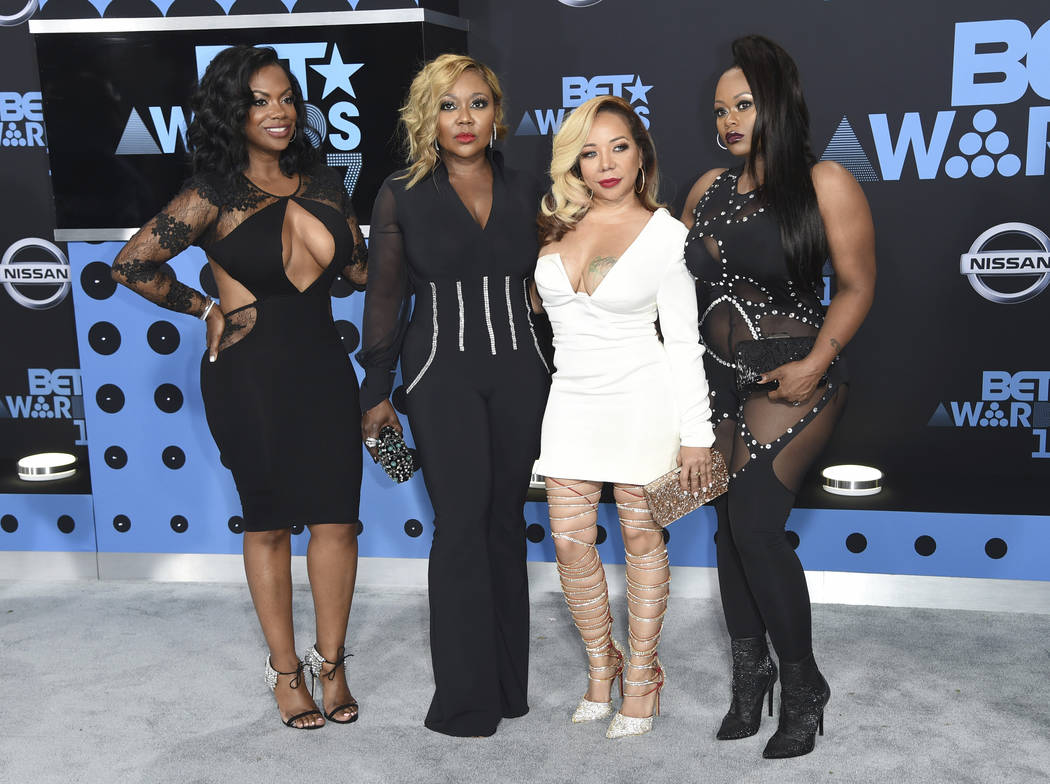 "Kandi Burruss, from left, LaTocha Scott, Tameka ""Tiny"" Cottle and Tamika Scott, of Xscape, arrive at the BET Awards at the Microsoft Theater on Sunday, June 25, 2017, in Los Angeles. (Richard Shot ..."