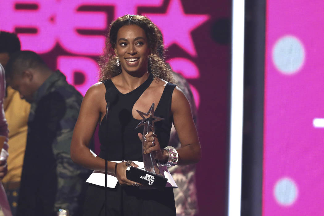 "Solange accepts the centric award for ""Cranes in the Sky"" at the BET Awards at the Microsoft Theater on Sunday, June 25, 2017, in Los Angeles. (Matt Sayles/Invision/AP)"