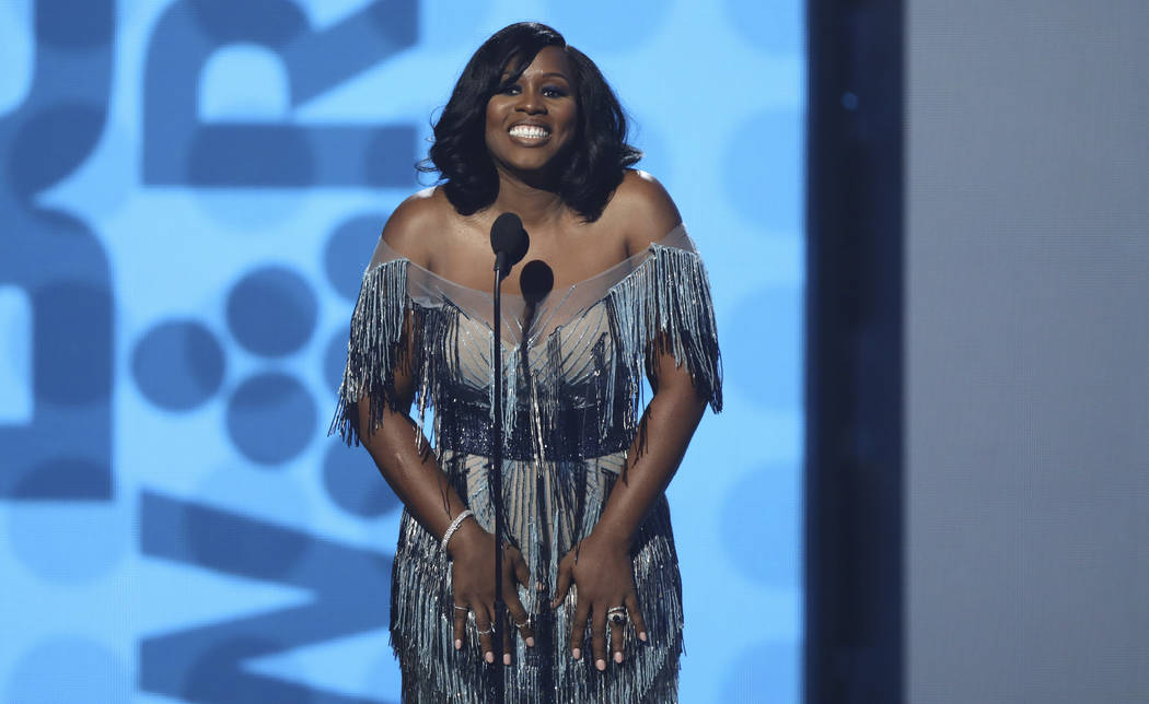 Remy Ma speaks at the BET Awards at the Microsoft Theater on Sunday, June 25, 2017, in Los Angeles. (Matt Sayles/Invision/AP)