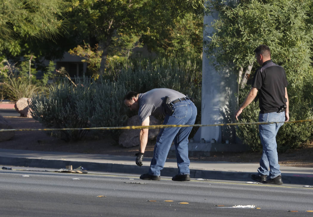 Metro detectives investigate after a pedestrian died after being struck by an SUV near Tropicana Avenue and Maryland Parkway early Monday morning, June 26, 2017. (Bizuayehu Tesfaye/Las Vegas Revie ...
