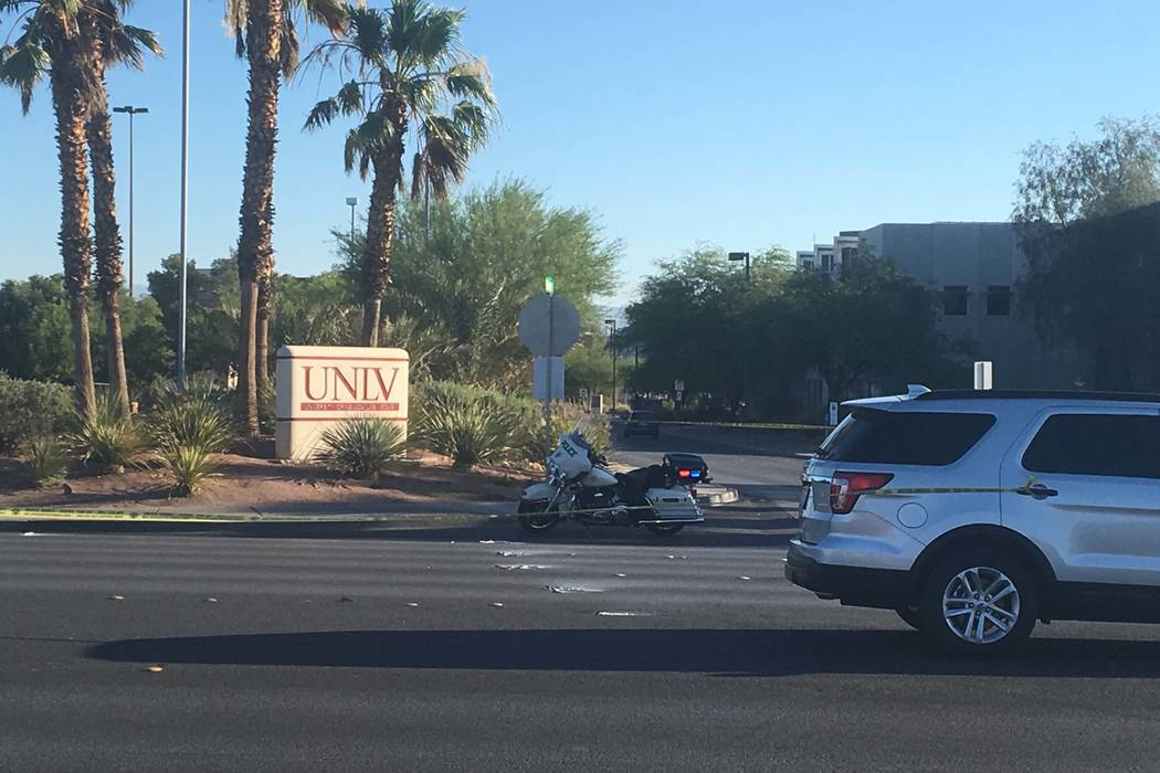 A pedestrian died after being struck by an SUV near Tropicana Avenue and Maryland Parkway early Monday morning, June 26, 2017. (Bizuayehu Tesfaye/Las Vegas Review-Journal) @bizutesfaye