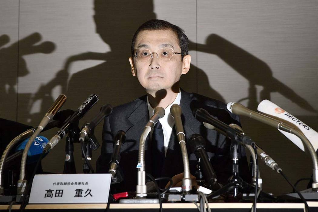 Japanese air bag maker Takata Corp. CEO Shigehisa Takada speaks during a news conference in Tokyo, Monday, June 26, 2017.  Takata Corp. has filed for bankruptcy protection in Tokyo and the U.S., o ...