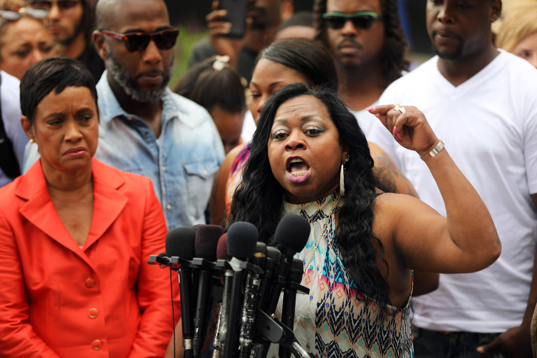 Valerie Castile, mother of Philando Castile, a black motorist who was killed by Officer Jeronimo Yanez, speaks about her reaction to a not-guilty verdict for Yanez at the Ramsey County Courthouse  ...