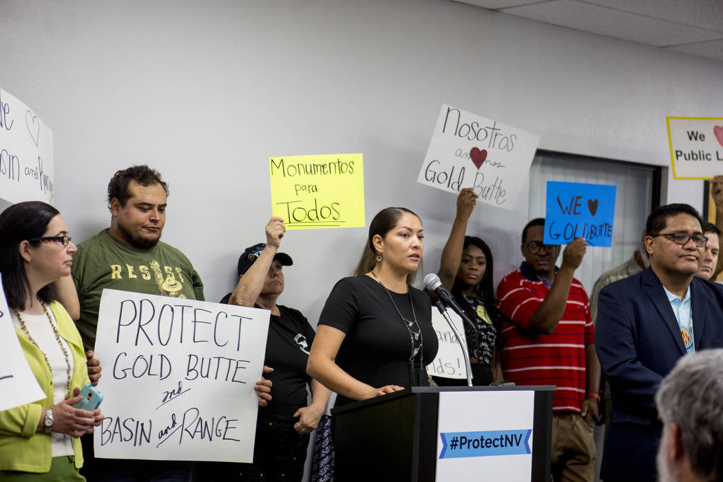 Member of Las Vegas Paiute Tribe Fawn Douglas alongside a group of national monument supporters during a press conference calling to action the Trump administration and Interior Secretary Ryan Zin ...