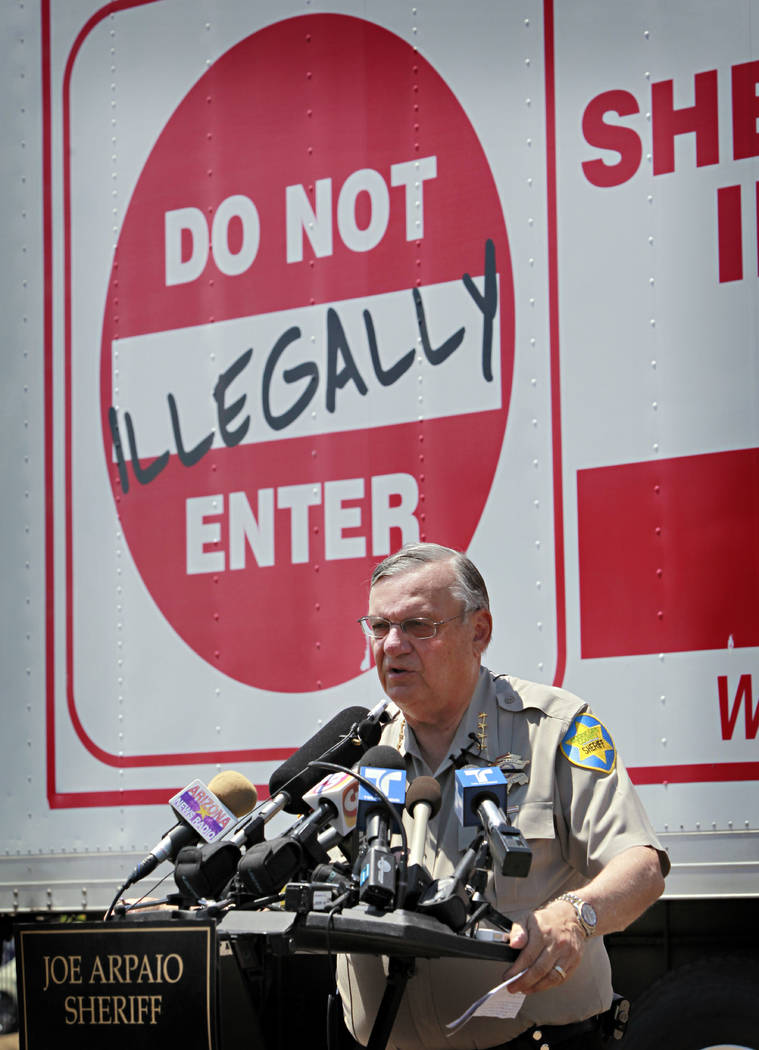 Maricopa County Sheriff Joe Arpaio speaks in Phoenix announcing his crime suppression sweeps,  July 29, 2010. The former longtime sheriff of metro Phoenix will go to court Monday, June 26, 2017, t ...