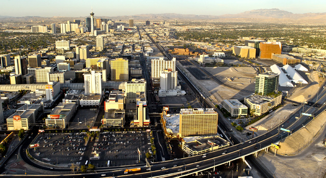 Aerial view of downtown Las Vegas, Friday, June 15, 2012. (Jeff Scheid/Las Vegas Review-Journal)