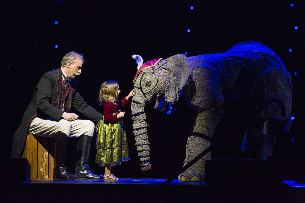"""A young fan meets the puppet elephant Peanut during a performance of """"Circus 1903"""" at The Theater at Madison Square Garden on April 6, 2017. (Scott Levy/Madison Square Garden)."""