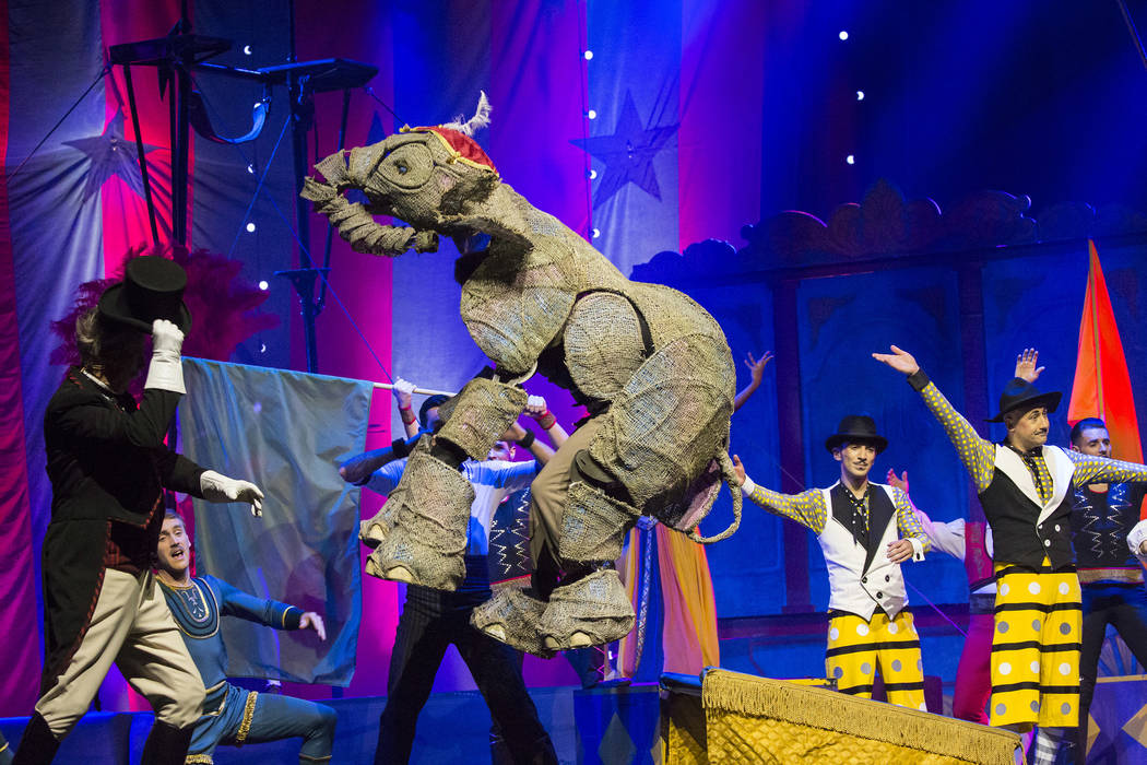 """The puppet elephant Peanut, shown during a performance of """"Circus 1903"""" at The Theater at Madison Square Garden on April 6, 2017. (Scott Levy/Madison Square Garden)."""