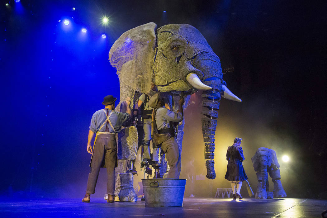 """The puppet elephant Queenie, shown during a performance of """"Circus 1903"""" at The Theater at Madison Square Garden on April 6, 2017. (Scott Levy/Madison Square Garden)."""