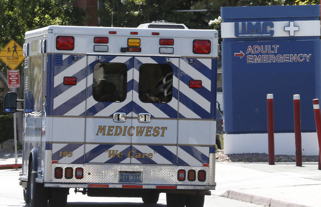 An ambulance arrives at University Medical Center in Las Vegas on Tuesday, June 27, 2017. Bizuayehu Tesfaye/Las Vegas Review-Journal @bizutesfaye